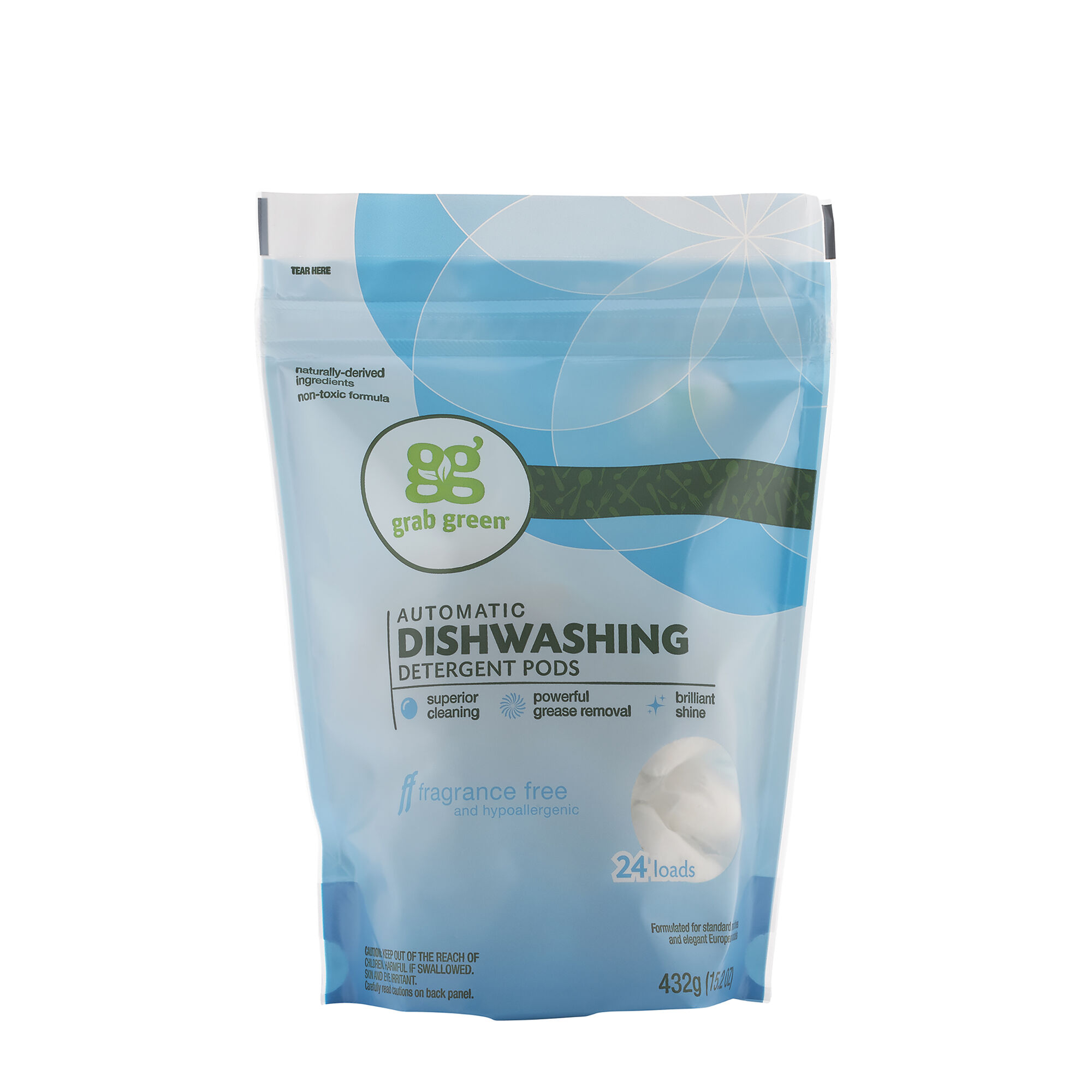 Automatic Dishwashing Detergent Pods Fragrance Free 24 Loads Grab GreenNatural Cleaning Products