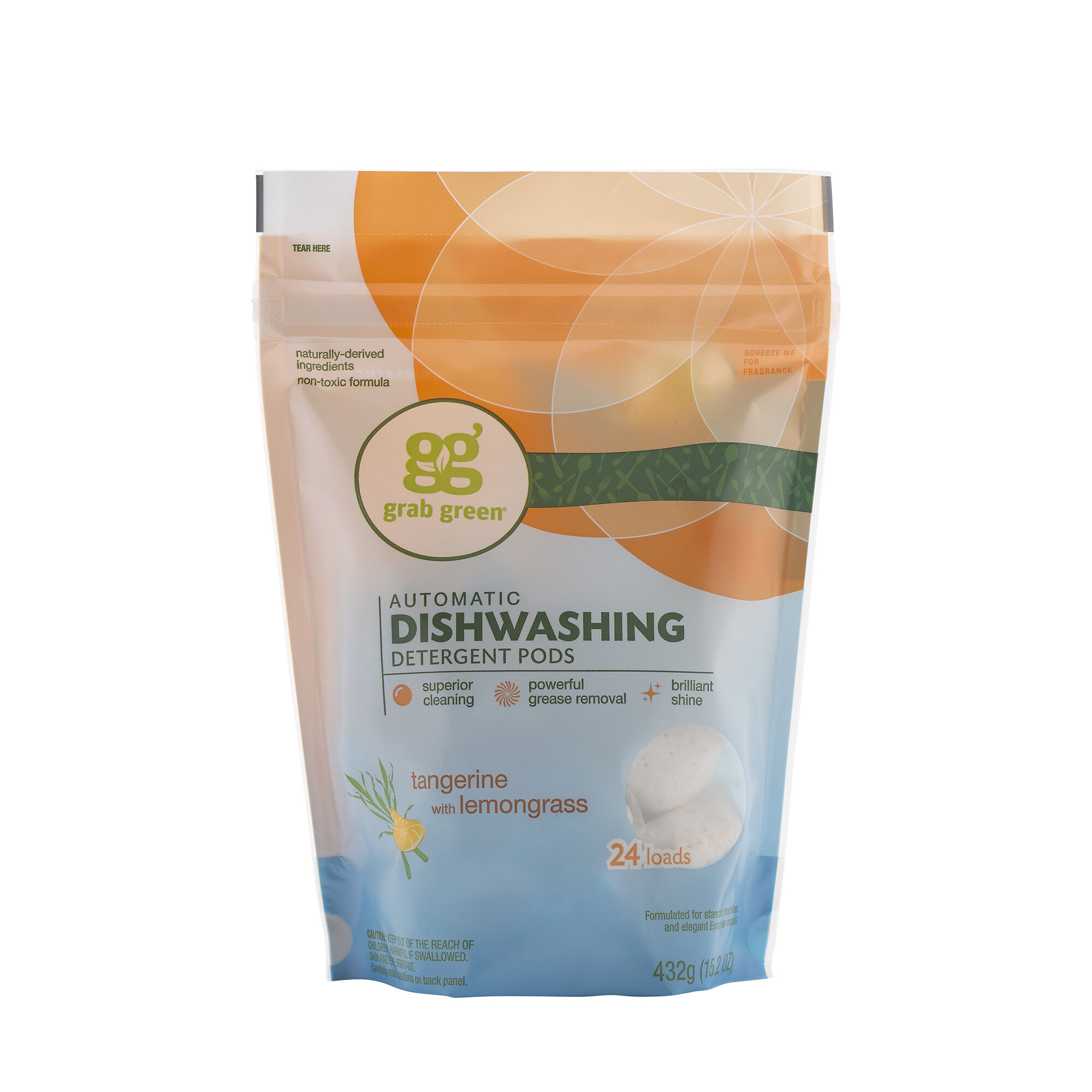 Automatic Dishwashing Detergent Pods Tangerine With Lemongrass 24 Loads Grab GreenNatural Cleaning Products