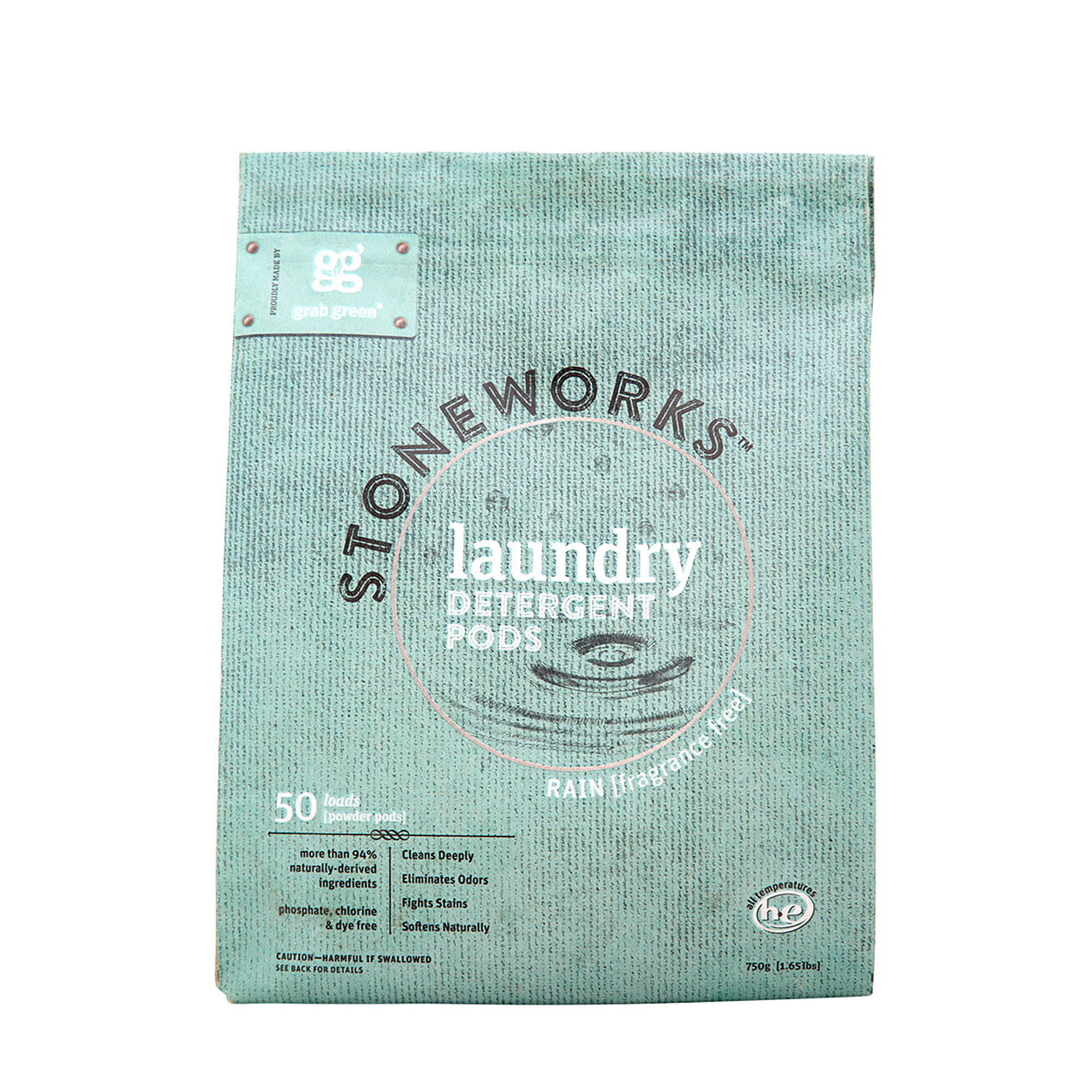 Stoneworksg Laundry Detergent Pods Rain 50 Loads Grab GreenNatural Cleaning Products