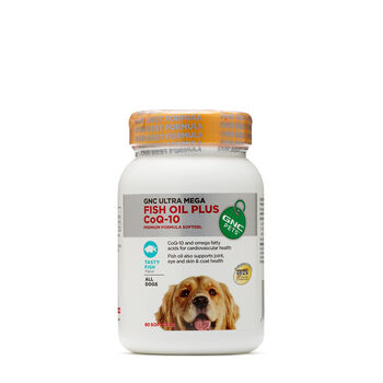 Gnc pets fish oil plus coq 10 all dogs tasty fish gnc for Fish oil supplements for dogs