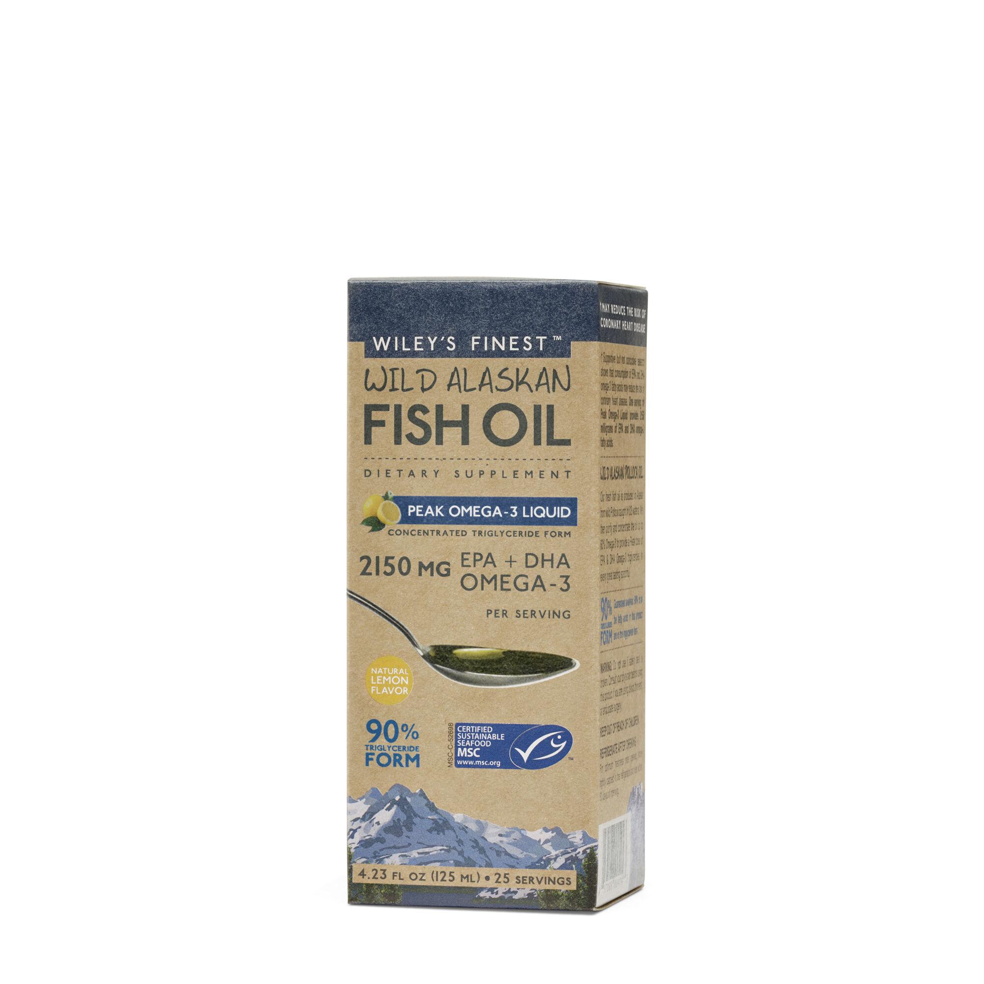 Wild Alaskan Fish Oil Peak Omega-3 Liquid 4.23 Fl. Oz. Wileys Finestg Omega Fatty Acids