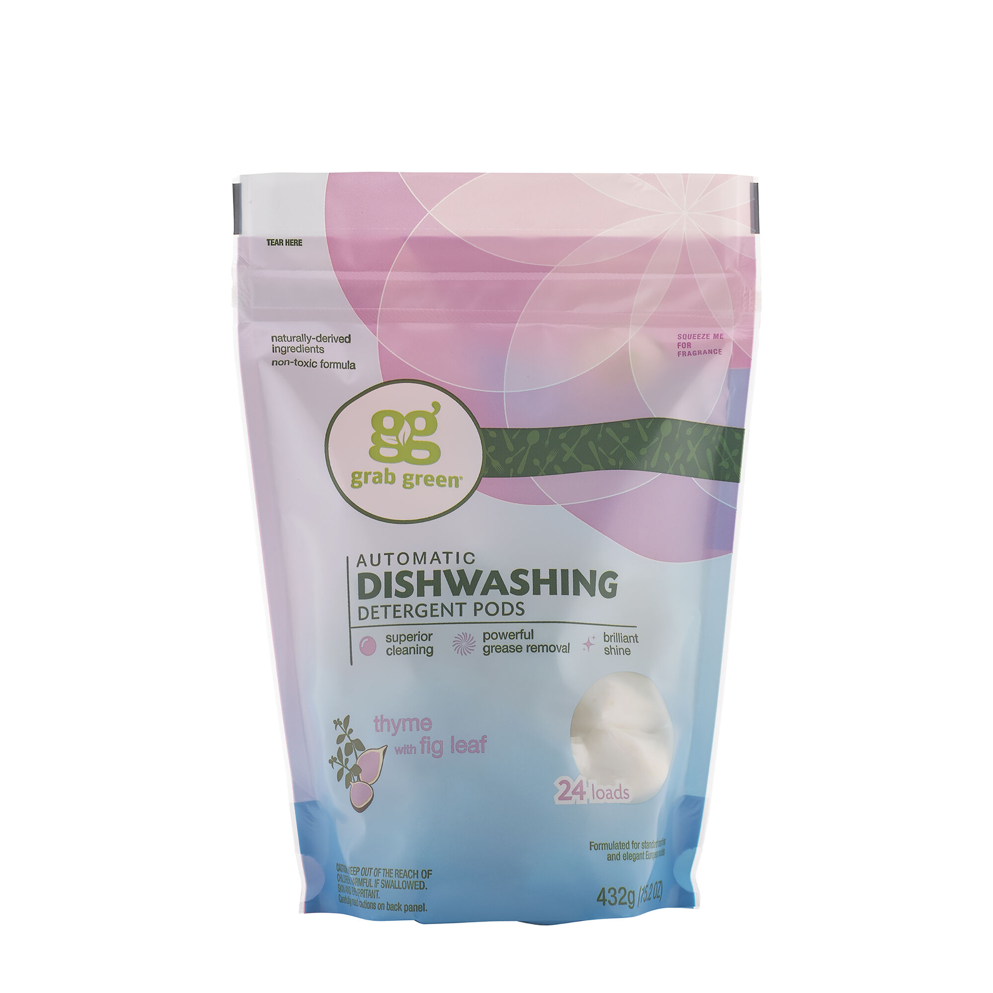 Automatic Dishwashing Detergent Pods Thyme With Fig Leaf 24 Loads Grab GreenNatural Cleaning Products
