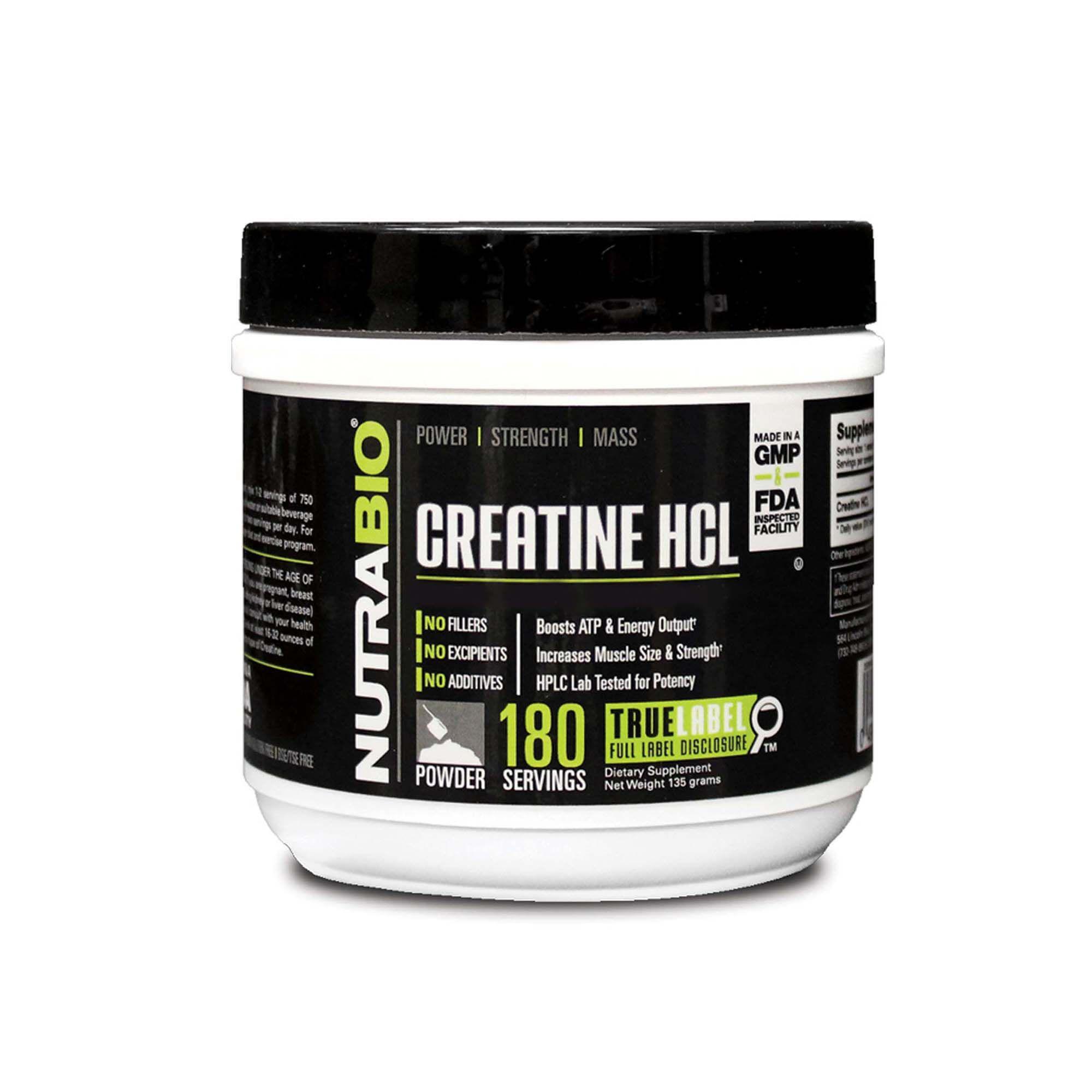 Creatine Hcl - 180 Servings - Nutrabio - Creatine