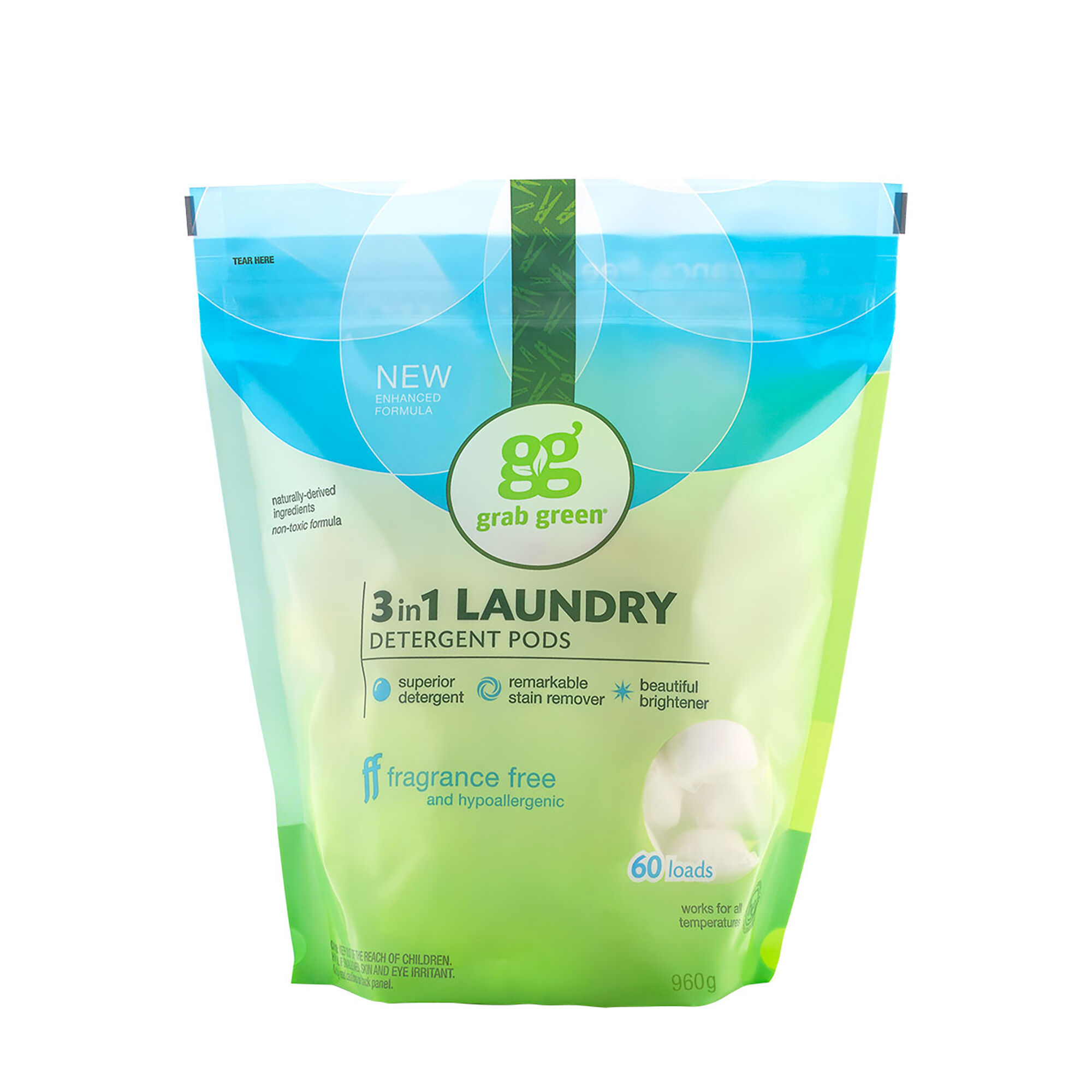 3 In 1 Laundry Detergent Pods Fragrance Free 60 Loads Grab GreenNatural Cleaning Products