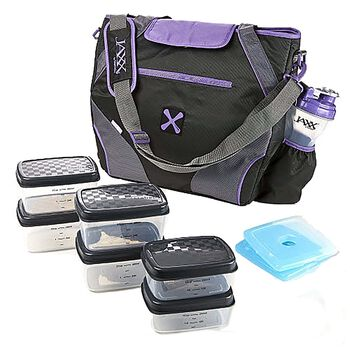 FitPak Ares Meal Prep Tote w/ Portion Control Container Set- Purple | GNC