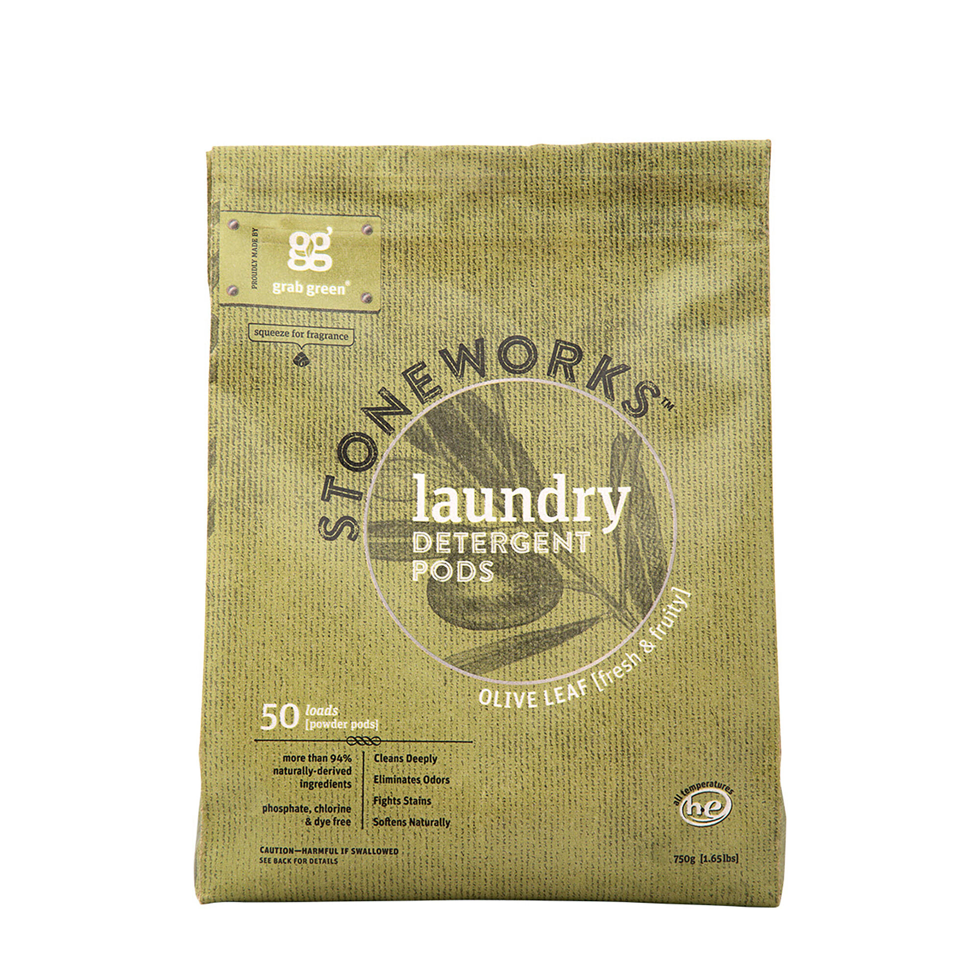 Stoneworksg Laundry Detergent Pods Olive Leaf 50 Loads Grab GreenNatural Cleaning Products