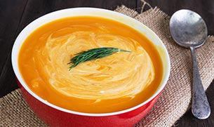 Moroccan Sweet Potato Soup with Spinach