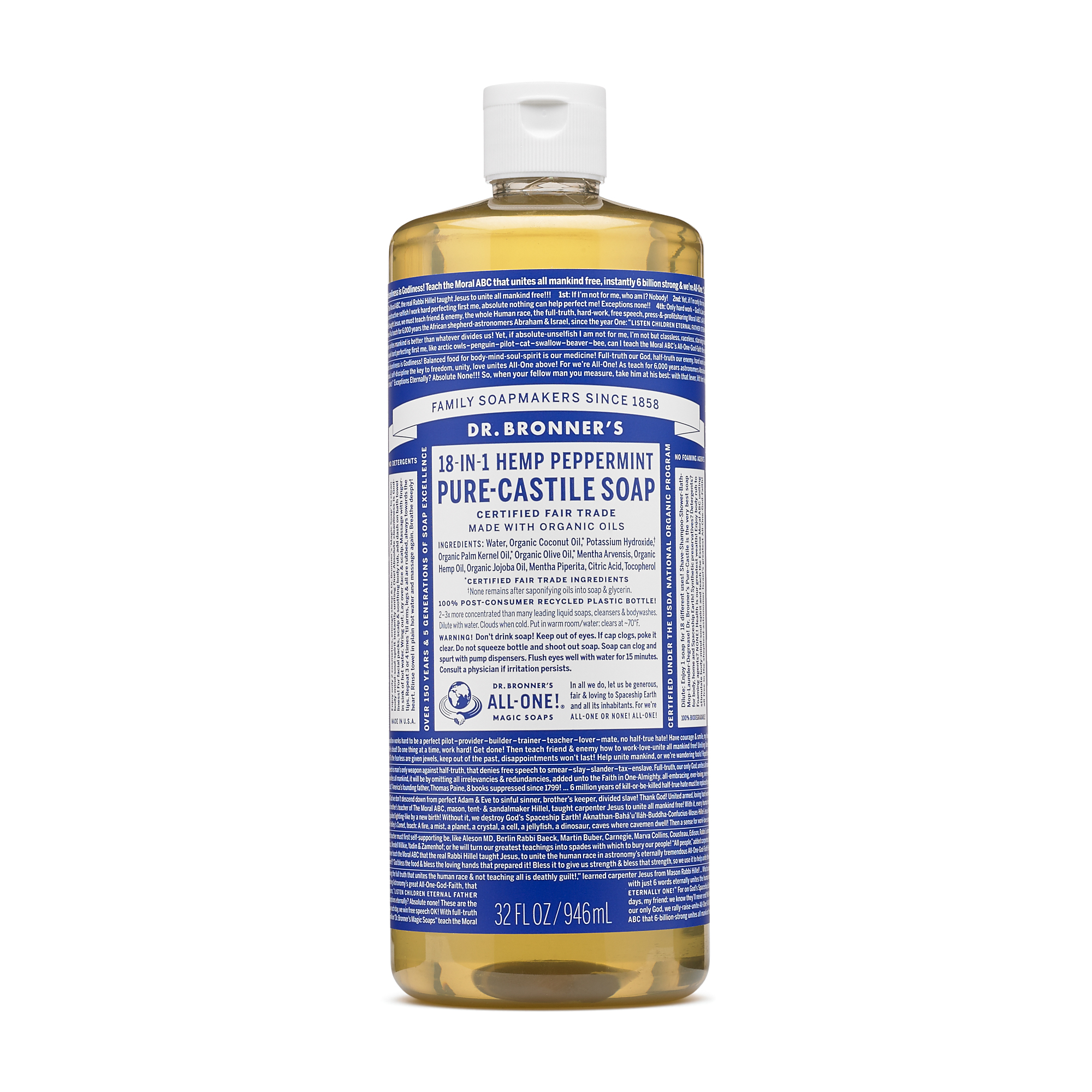 Dr. Bronner\'s Magic Soaps 18-in-1 Hemp Peppermint Pure Castile Soap ...