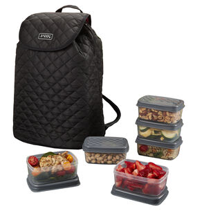 Quilted Fitpak Meal Prep Backpack With Portion Control Container Set Gnc
