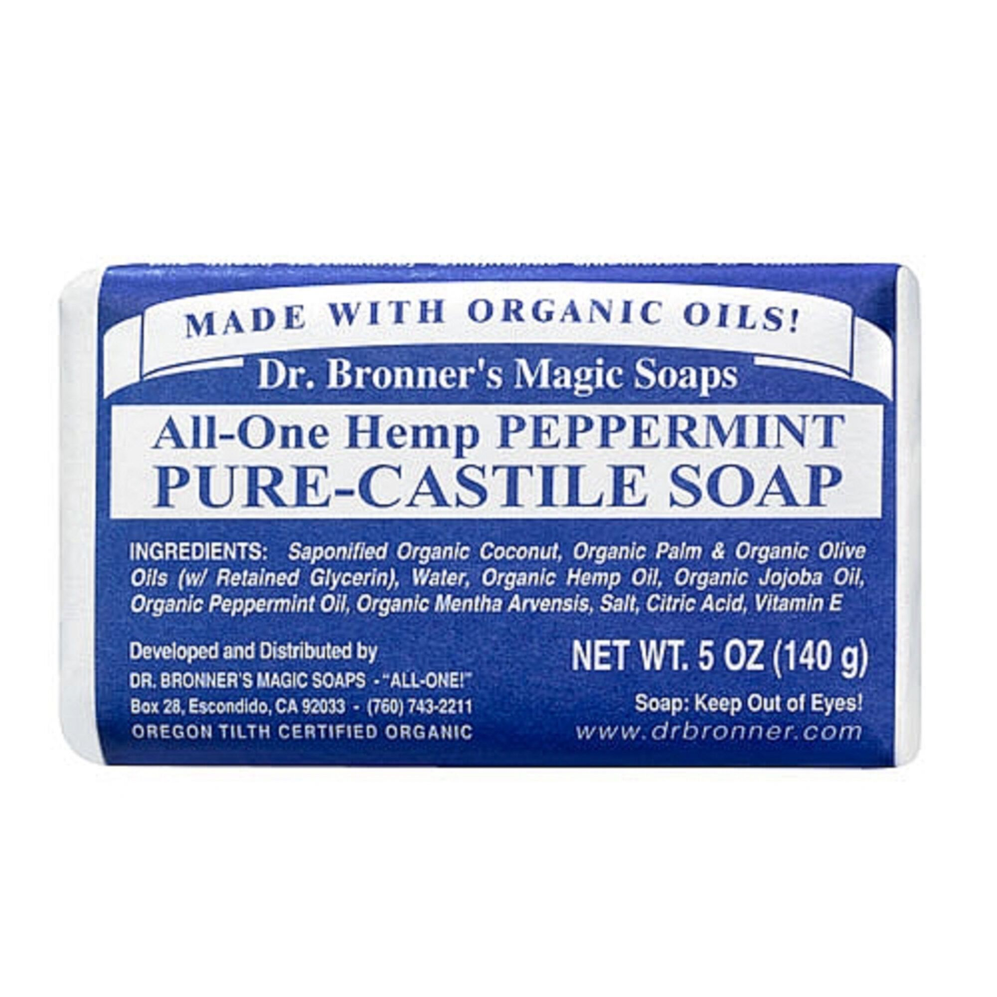 Dr  Bronner's Pure-Castile Bar Soap - Peppermint