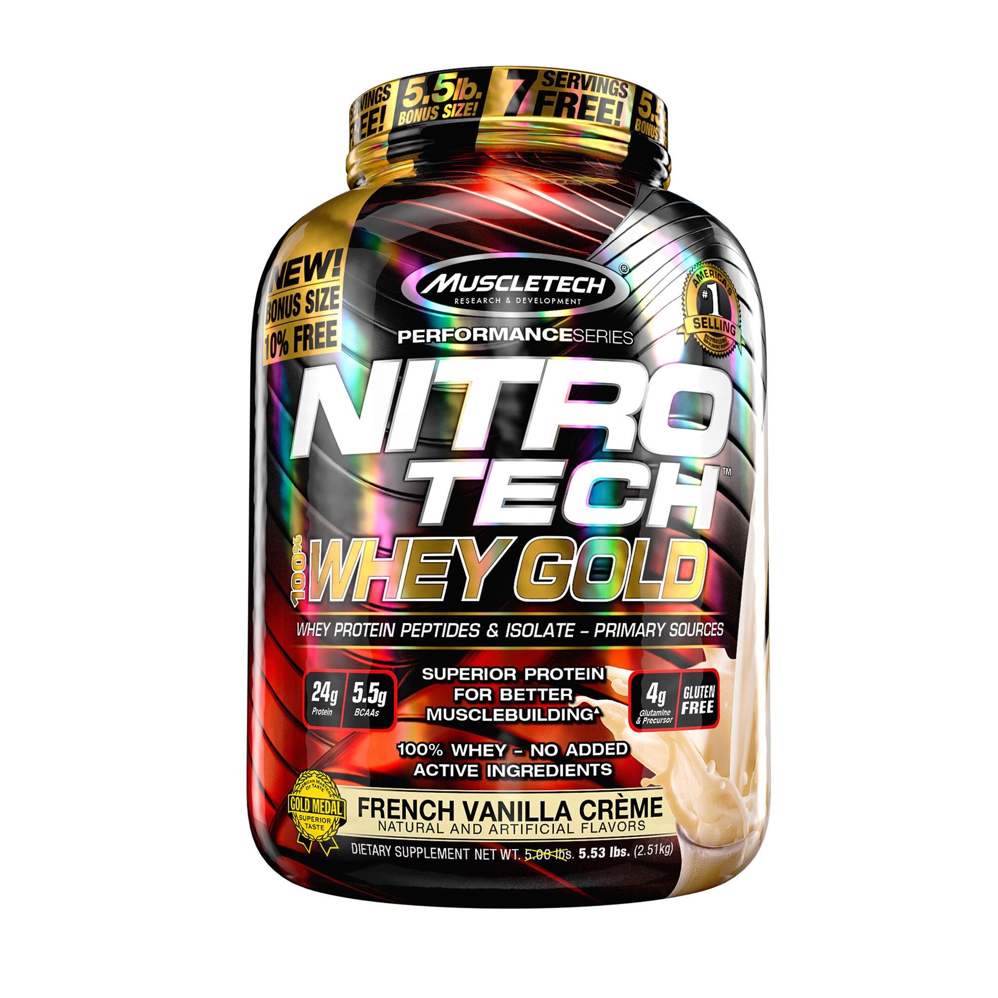 Muscletech Nitro Tech 100 Whey Gold French Vanilla Creme Gnc