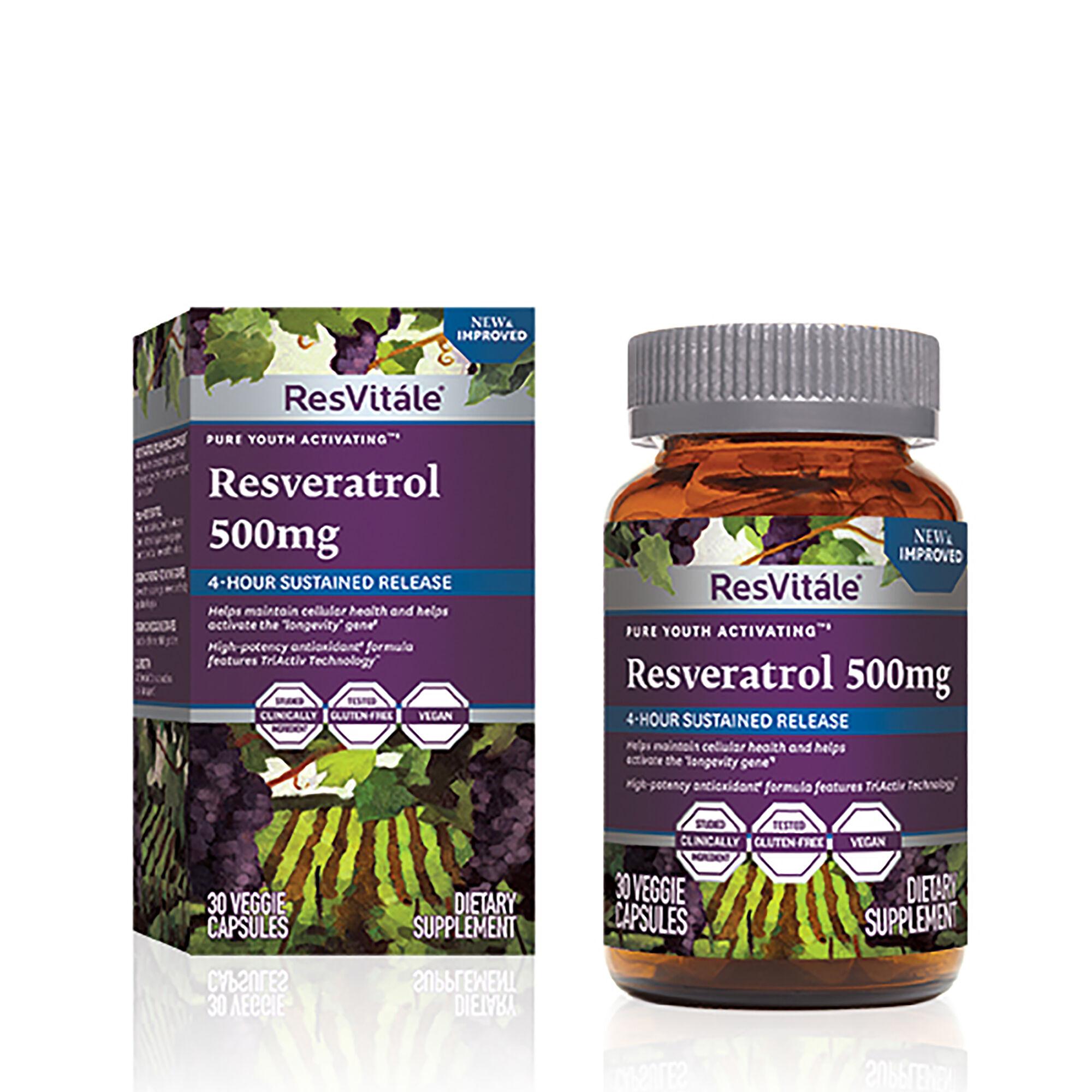 Resvitale Resveratrol 500mg 30 Vegetarian Capsules Gnc