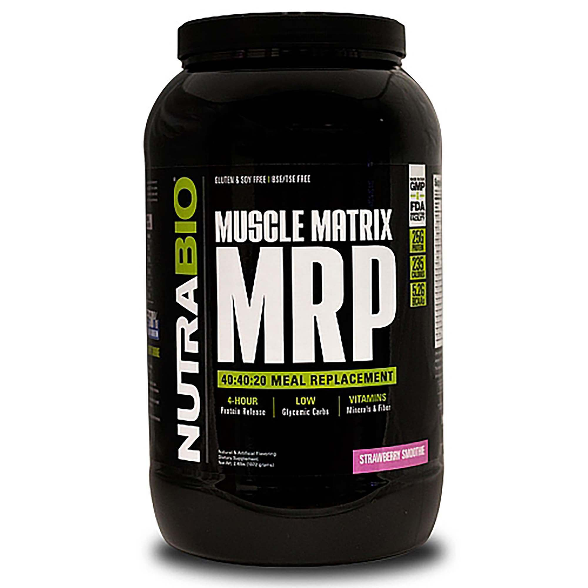 Muscle Matrix Mrp - Strawberry Smoothie - 2 Lb(S) - Nutrabio - Meal Replacement Powders