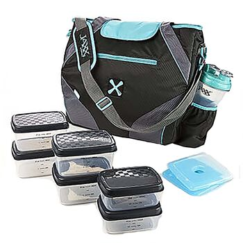 FitPak Ares Meal Prep Tote w/ Portion Control Container Set - Teal | GNC