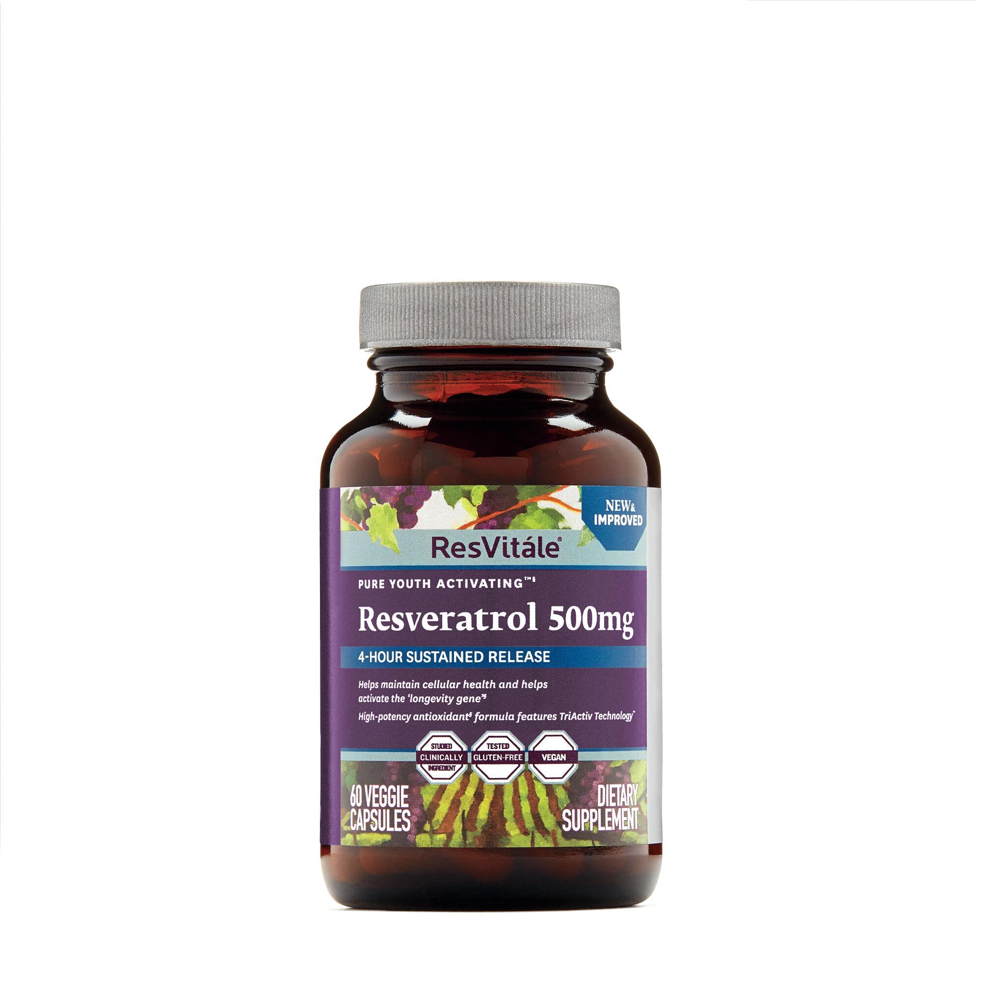 Resvitale Resveratrol 500mg 60 Vegetarian Capsules Gnc