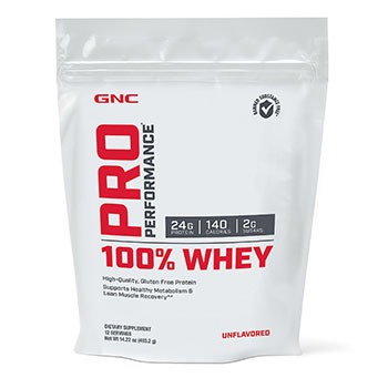 unflavored GNC Pro Performance 100% Whey Protein