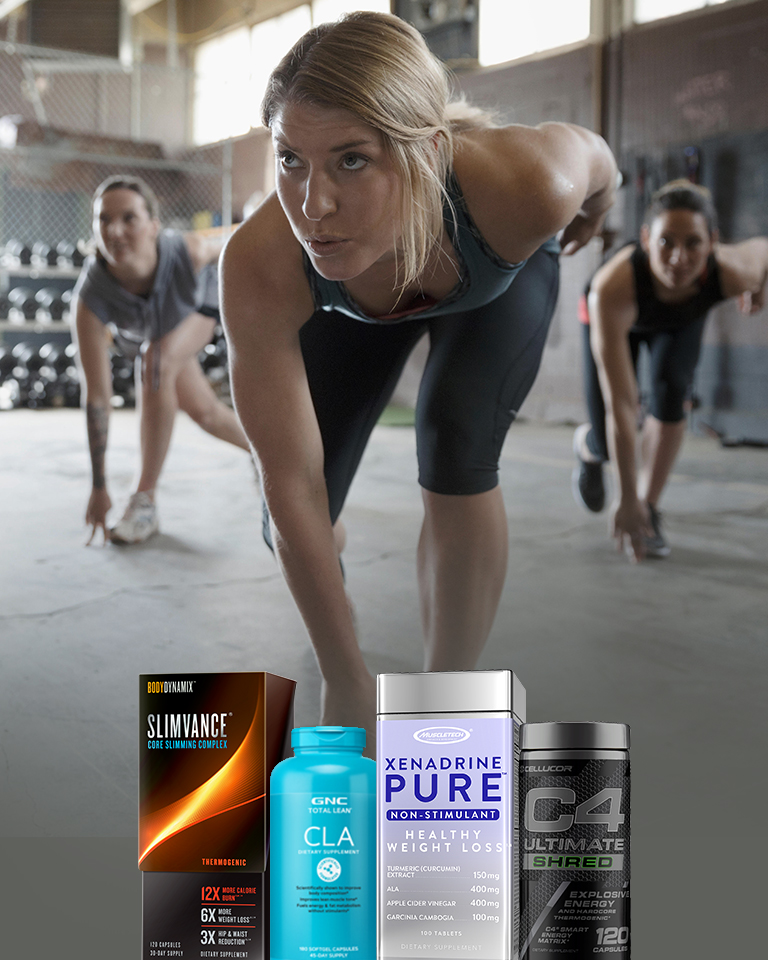 A package of Total Lean CLA is next to containers of Cellucor C4 as people work out behind them.