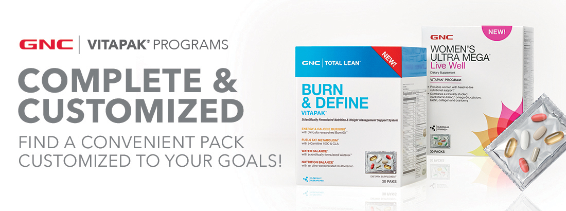 GNC Vitapak Programs - Complete & Customized - Find A Convenient Pack Customized To Your Goals!