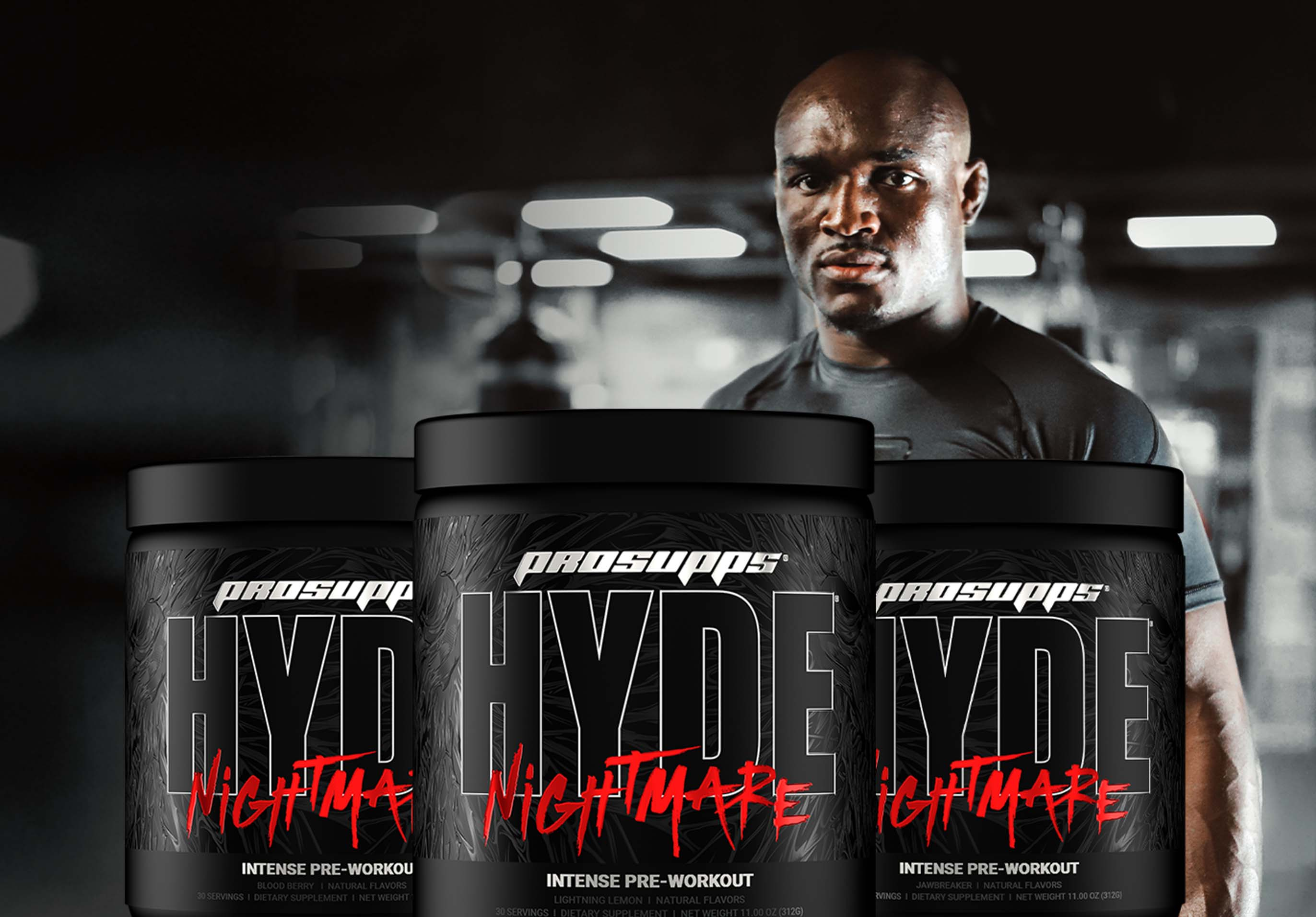 """NEW ProSupps® Hyde® Nightmare pre-workout is here! Buy it now and get a free shirt from UFC superstar Kamaru """"The Nigerian Nightmare"""" Usman*."""