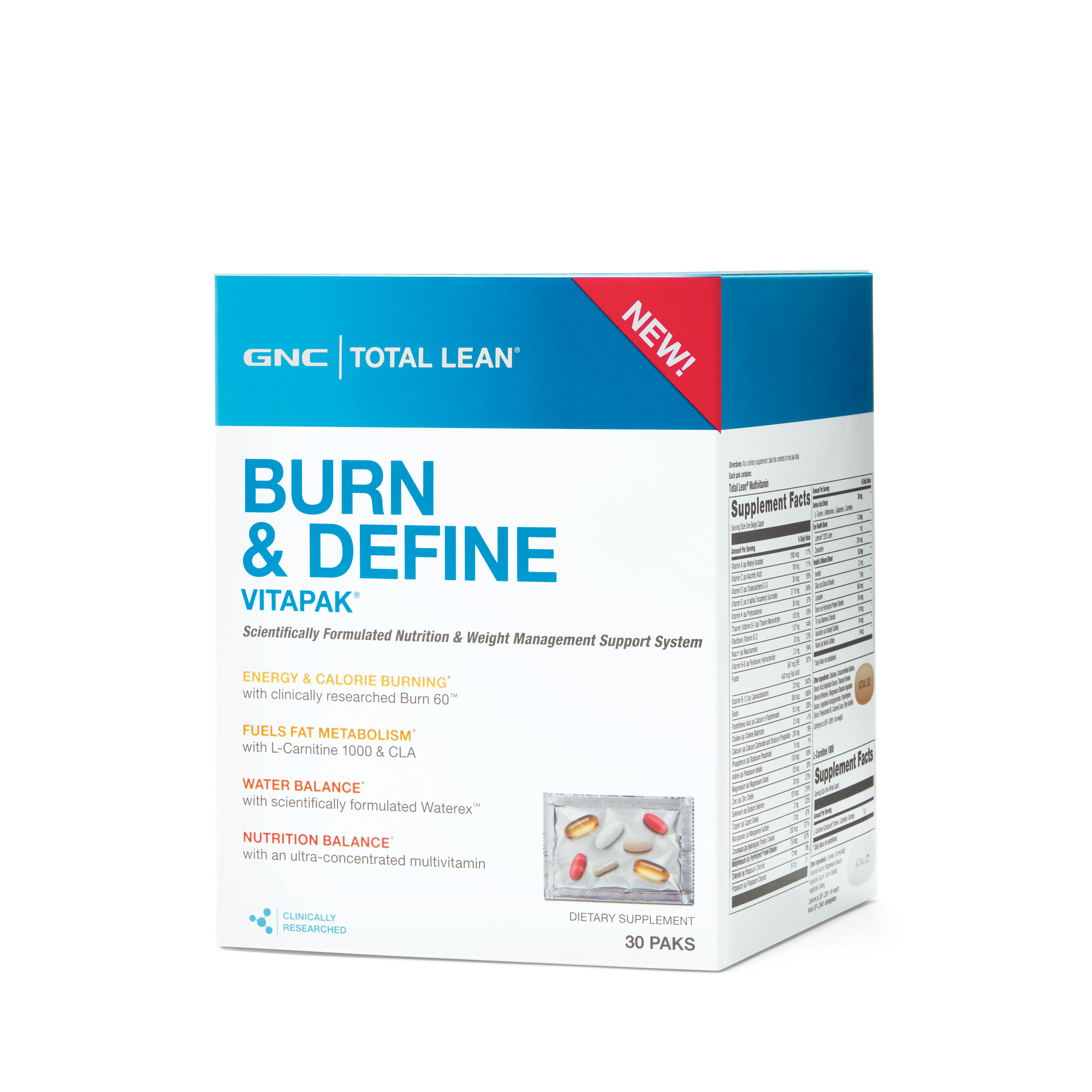 Gnc Total Lean Burn And Define Vitapak Vitamin Packs Gnc